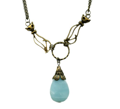 Amazonite and Brass Cats Antiqued Bronze Necklace 19 Inches