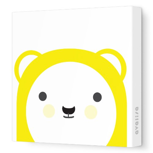 "Avalisa Stretched Canvas Nursery Wall Art, Polar Friend, Yellow, 12"" x 12"""
