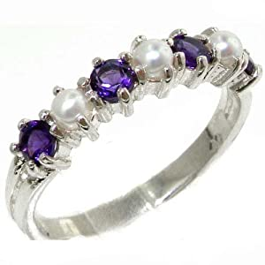 Exquisite Solid Sterling Silver Natural Amethyst & Pearl Ladies Eternity Band Ring - Size 4.5 - Finger Sizes 4 to 12 Available - Perfect Children's Girls Ring
