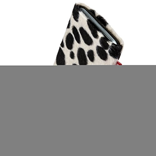 fitBAG Bonga Dalmatian custom tailored sleeve for Nokia Lumia 830. Fine imitation fur pouch with integrated MicroFibre lining for display cleaning