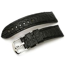 24mm Matte Black (Horned Back) Bony Croco Watch Strap, Black St.