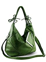 Purse Babe New York Style Faux Leather Art Deco Design Leopard Print Large Size Tote-green
