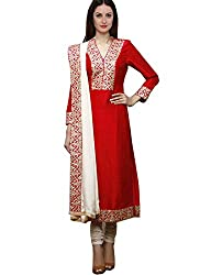 Zbuy Red Benglory Embroidered Unstitched Salwar Suit Dress Material