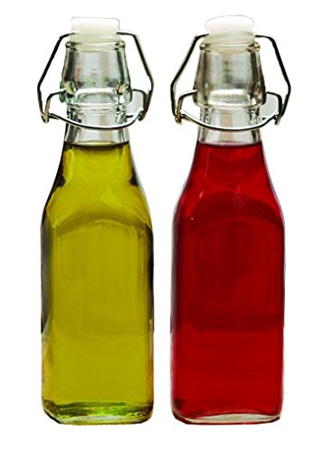 Palais Glassware Oil and Vinegar Clear Glass Dispenser Cruet Bottle - Set of 2 (Bail and Trigger Lid 8.5 Oz.) (Glass Bottle Bail Lid compare prices)
