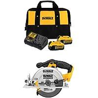 Dewalt DCB205-2CK 20-Volt MAX Lithium-Ion 5.0 Ahr Starter Kit with 2 Batteries + Dewalt 20-Volt Circular Saw
