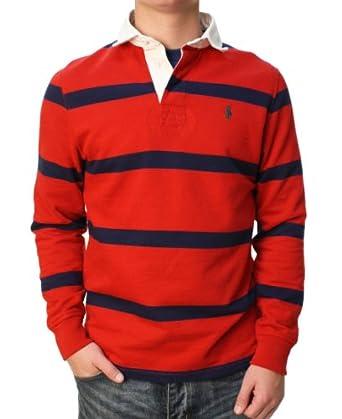Polo ralph lauren men 39 s long sleeve rugby shirt red blue for Long sleeve striped rugby shirt