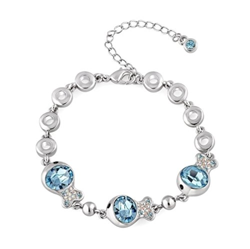 NEVI Fish Animal Fashion Swarovski Elements Rhodium Plated Charm Bracelet Jewellery for Women And Girls (Blue & Silver) at amazon