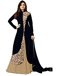 AnK Cream & Black Banglori Georgette Embroidered Semi Stitched Designer Dress Materials With Dupatta