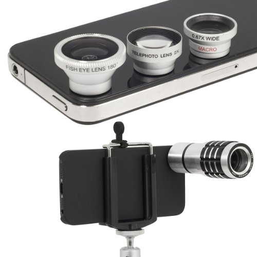 Xcsource® Set 10X Zoom Telescope Camera Lens +Wide Angle + Macro + Fish Eye Lens For Iphone 5 5G 5S Dc245