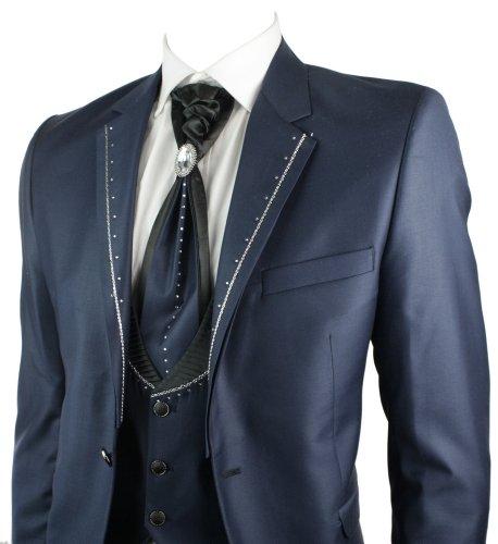 Mens Shiny Slim Fit Wedding Party Suit Navy Blue 4 Piece Lapels W Daimontes