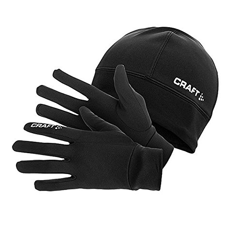 Craft - Set composto da guanti e berretto per allenamento running invernale, idea regalo, nero (nero), M
