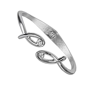 Amazon.com: Exclusive Women's Twins Fish Cubic Zirconia Cuff Stainless Steel CZ Bracelet (Silver): Jewelry