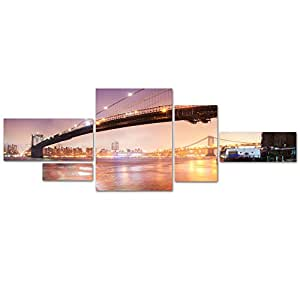 Bridge Pano 5 by Moises Levy Multi Panel Art Set: Home & Kitchen