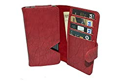 TOTTA PU Leather Wallet Pouch with Card Holder For Huawei Ascend Y360 - Red