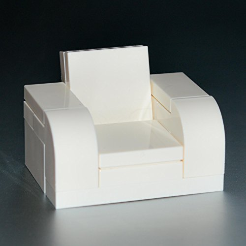 LEGO Furniture: White Arm Chair With Reclining Back - Custom Set w/ Instructions - 1