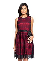 Red Color A Line Dress with Black Lace and Black Satin Belt for Party Wear