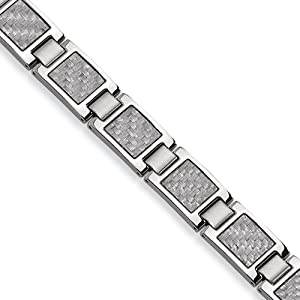 Stainless Steel Grey Carbon Fiber 8.5in Bracelet
