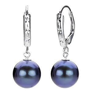 Sterling Silver 9-10mm Dyed Black Round Cultured Freshwater Pearl Design Lever-back Earrings