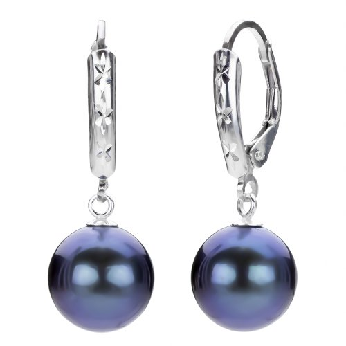 Sterling Silver 9-10mm Perfect Round Black Cultured