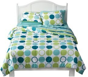 Blue Green Reversible Dot Dorm Bedding Comforter Set - XL Twin Extra Long