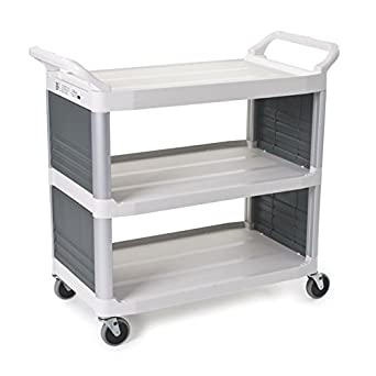 Rubbermaid Commercial FG409200OWHT XTRA Service and Utility Cart, 3-Shelf with End Panels, White