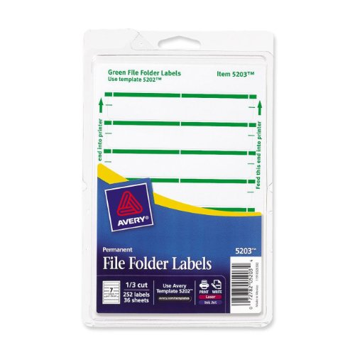 Avery 5203 Print or Write File Folder Labels for Laser and Inkjet Printers, 1/3 Cut - Green (Pack of 252)