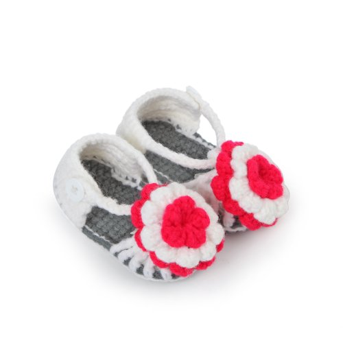 Touch 1 Pairs Baby Girls Crib Crochet Casual Infant Prewalker Knitting Shoes (White) front-297646