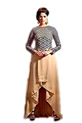 Bipson Womens Net Anarkali Dress Material (Fusion-101 -Brown -17-18 Years)