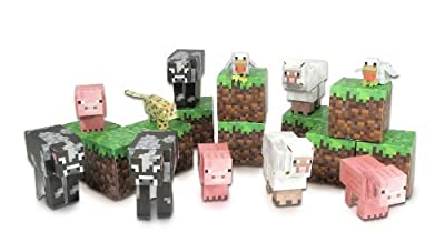 6 X Minecraft Papercraft Animal Mobs Set (Over 30 Pieces) from Jazwares Domestic