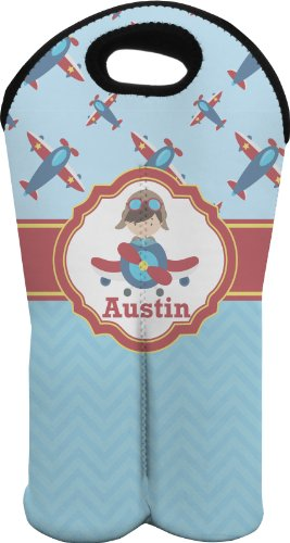 Airplane Theme Personalized Wine Tote Bag (2 Bottles) front-644014