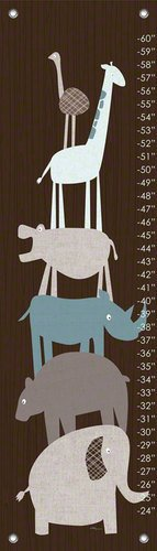 Oopsy Daisy Animal Pile Up Teal Vicky Barone Growth Charts, Brown, 12 x 42""
