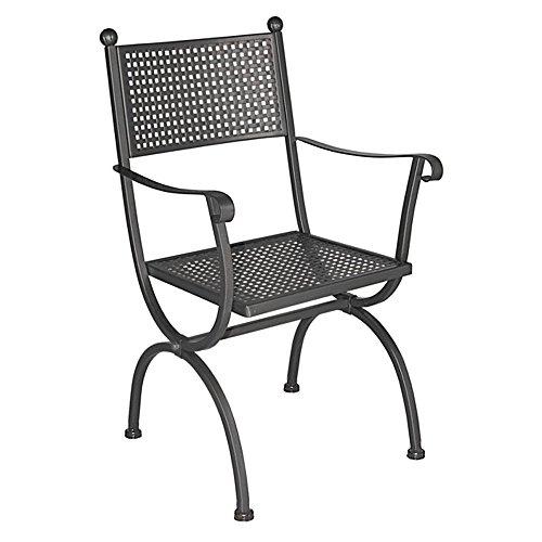 Poltrona sedia in ferro forgiato mano marrone scuro arredamento esterno M0970-09