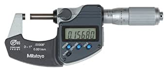 """Mitutoyo 293-335 Digital Outside Micrometer, Inch/Metric, Friction Thimble, 0-1"""" (0-25.4mm) Range, 0.00005"""" (0.001mm) Resolution, +/-0.00005"""" Accuracy, Meets IP65 Specifications"""