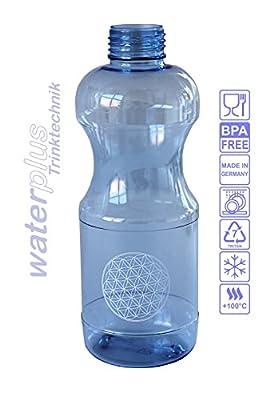 """2 x TRITAN Trinkflasche 0,5 Liter (rund) """"Blume des Lebens"""" + 2 x Dichtdeckel + 2 x Standarddeckel + 2 Trinkdeckel Wasserflasche-n Sportflasche-n Flasche-n Getränkeflasche-n BPA frei Sparset"""