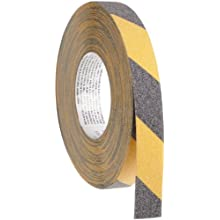 "Brady 60' Length, 1"" Width, B-916 Grit-Coated Polyester Tape, Striped Special Black And Yellow Color Anti-Skid Tape"