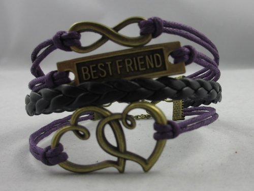 Vintage Bronze Infinity 8 Best Friend Heart Purple