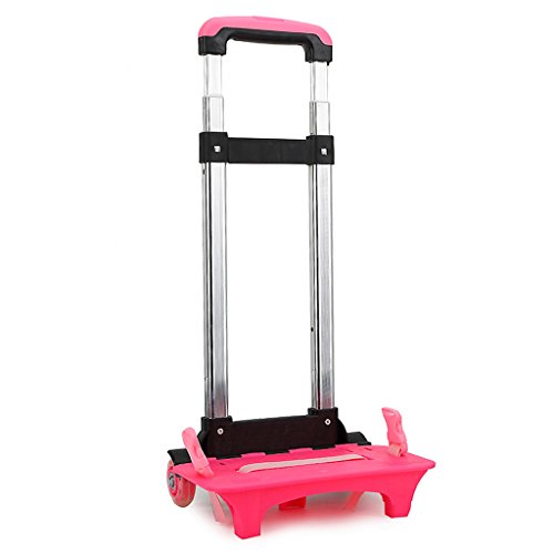Wheeled Trolley Hand Aluminium Alloy Folding Trolley Cart for Backpack (Pink, 2 Wheels)