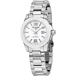 Longines Conquest White Dial Stainless Steel Ladies Watch (L3.257.4.16.6)