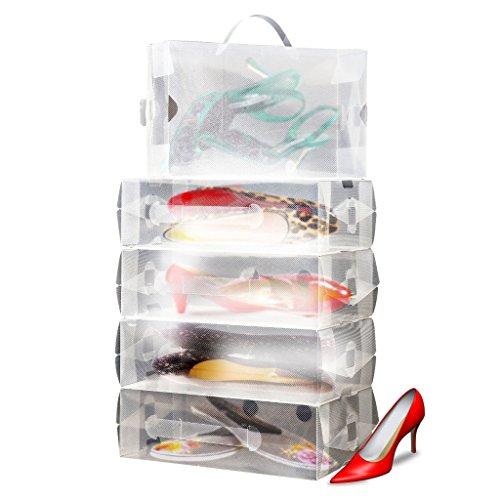 10 x Scatole per Conservare Scarpe da Donna Trasparenti Pieghevoli Impiliabili da Kurtzy TM