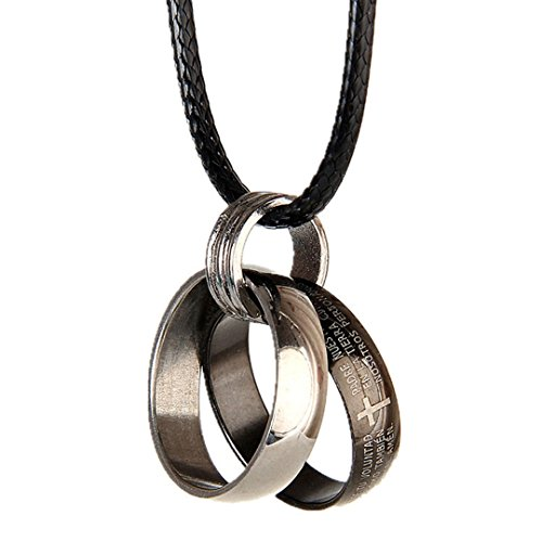 DDLBiz Stainless Steel Bible Ring Ring Couple Necklace Leather Cord Necklace