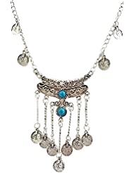 Mehrunnisa Oxidized Silver Tone Turquoise Coin Charm Necklace For Women (JWL994)