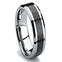 6mm Tungsten Carbide Black Carbon Fiber Men's Wedding Ring Engagment Band Size