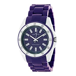 Anne Klein Women's 109179PRPR Swarovski Crystal Accented Silver-Tone Purple Plastic Watch