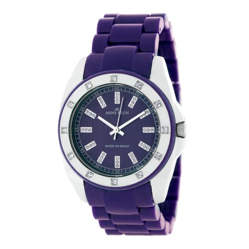 AK Anne Klein Women's 109179PRPR Swarovski Crystal Accented Silver-Tone Purple Plastic Watch