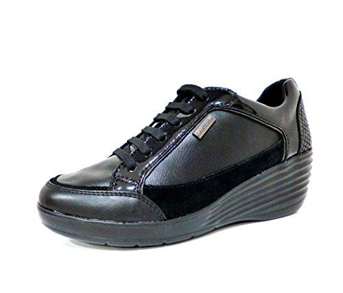 Stonefly Ebony 107385 000 scarpe sneakers donna nere stringate con zeppa n° 38