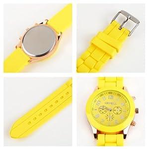 DETL Unisex Geneva Silicone Crystal Lady Jelly Gel Quartz Analog Sport Wrist Watch (yellow)