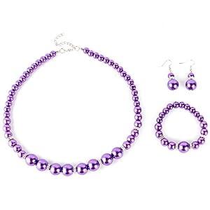 Yesurprise Schmuckset Perlen Armband Ohring Pearl Ball Beads Necklace Bracelet Earrings SET Geschenk Gift 005
