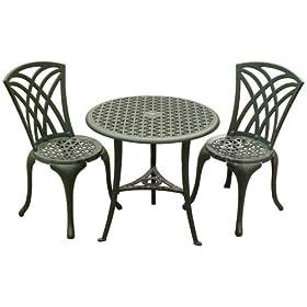 3 piece bronze wrought iron bistro patio furniture