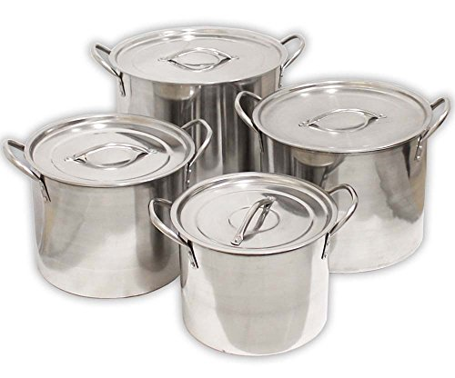 ToolUSA 4 Piece Set Of Stainless Steel Stockpots 8-20 Quart Sizes