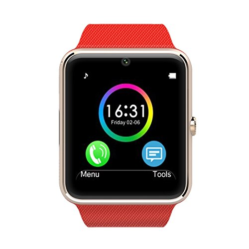 AirsspuTM Bluetooth Smart Watch with camera Cell Phone Watch Phone Mate for Android Samsung S3/s4/s5/note 2/note 3/note 4 HTC Sony Lg and Iphone 5/5c/5s/6/6 Plus (Gold-red band)